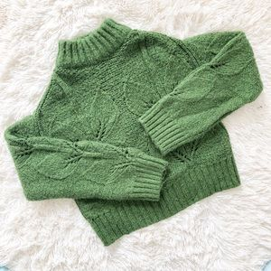 UO Cropped Green Holiday Sweater